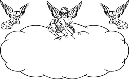 Angel border with baby